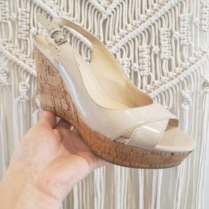 Marc Fisher 7 peep-toe slingback nude wedge heels